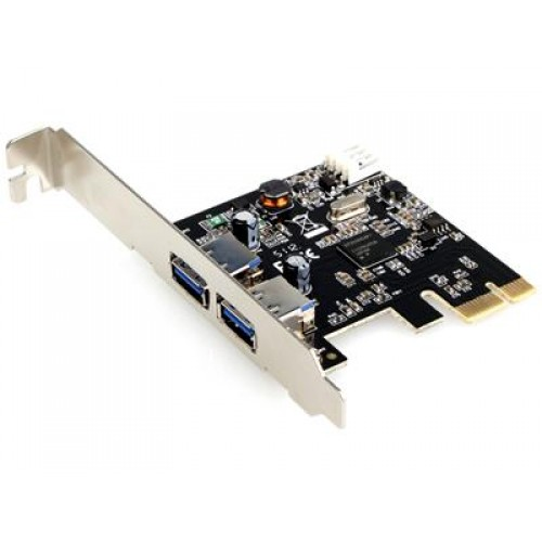 Untitled document 	  PCI-E to USB3.0 2 port - 17456Interface USB 3.0Bus Type PCI ExpressType of Card Standard Profile (LP bracket incl.)Chipset ID Renesas / NEC - μPD720200Connector (S)Type (s) Connector 1 - PCI Express x1 MaleInternal Ports 1 - LP4 (4 pin; Molex Large Drive Power) MaleExternal 2 ports - USB 3.0 A (9 pin; SuperSpeed)UASP Support Yes11