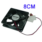 Untitled document    Overview :   1) Fan for installation in computer case  2) Size: 80x80x25 mm  3) Rated Voltage: 12 V 4) Input Current: 0.08A  5) Acoustical Noise: 18dB 6) Speed ( R.P.M ): 1700RPM 7) Flow rate: 26.3 CFM