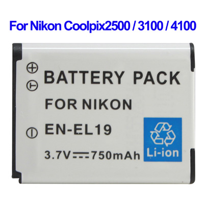 Untitled document 	   Overview :  		 	1) Cell Type: EN-EL19  2) Capacity: 750mAh  3) Output Voltage: 3.7V  4) Compatible camera model: Nikon Coolpix2500 / 3100 / 4100
