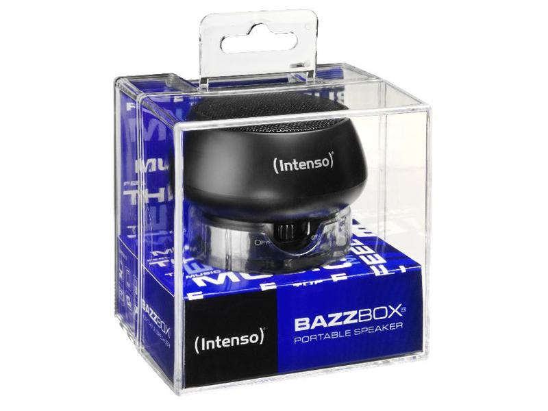 Untitled document 	            	Product description :             Intenso Portable Speaker Bazzbox (black)                                                    	Specifications :             1) Battery type: Rechargeable li-polymer battery 2) Battery life: max. 3 hours 3) Output Power: 3 W 4) Ports: Mini USB for charging | Integrated LINE In cable for external  MP3-/ MP4 player