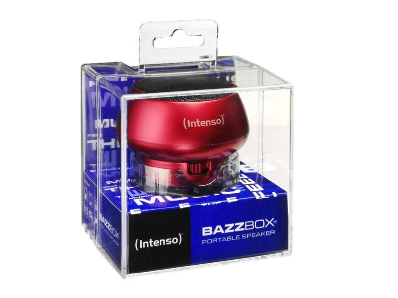 Untitled document             Product description :             Intenso Portable Speaker Bazzbox (red)                                                    Specifications :             1) Battery type: Rechargeable li-polymer battery 2) Battery life: max. 3 hours 3) Output Power: 3 W 4) Ports: Mini USB for charging   Integrated LINE In cable for external  MP3-/ MP4 player