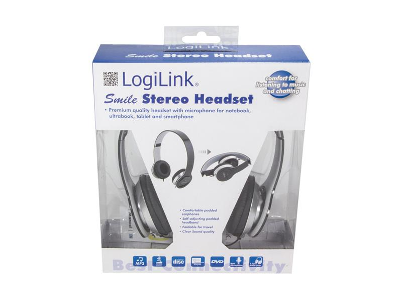 Untitled document             Product description :             LogiLink Stereo High Quality Headset Black (HS0028)                                                    Specifications :             Stereo High Quality Headset Connector Type: 1x 3.5mm Stereo Impedanz: 32 Ohm ±10% Sensitivity: 105 dB ±3dB S.P.L bei 1kHz Frequenz: 20 to 20.000 Hz High wearing comfort Integrated Microphone Cable length: 1.20 m