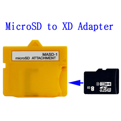 Untitled document    Micro SD Card to XD MASD-1 Card AdapterOverview :   1) Convert any Micro SD (TF) Cards to XD card 2) Save Cost- use Cheap micro SD cards to Replace XD cards 3) Supports up to 8GB MicorSD (TF) Cards 4)  Can use the camera: SP-590UZ/ u-9000/ u TOUGH-8000/ u-7020/  u-7010/u-7000/u Tough-6010/ u TOUGH-6000/ u -5000/ u-1070/  FE-5020/  FE-5010/ FE-4010/ FE-4000/ X-935/ FE-3010/ FE-3000/ FE-46/ FE-26/ FE-45;  SP-565UZ */ u 1060 */ u 1050SW */ u 1040 */ u 1035SW */ u 1020 */ u  1010 */ u 850SW */ u 840 */ FE-370 */ FE-360*/ FE-20*