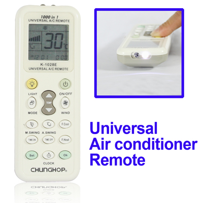 Untitled document    Overview  1)This Remote Controller has four setting modes that are refered to specification. 2)1000 in 1 Universal remote control for air-conditioners 3) Powerful codebase (newest) 4) Memory function during electricity failure 5)Adopt manually searching and automatically searching 6) Complete functions 7) Comfortable hand feeling 8)Clock function