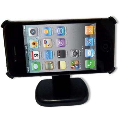 Untitled document   Product Highlights: iPhone 4 table holder with stand  Just place it on the table top  Very easy to use  Shelf rotates by 90°  The holder can be placed horizontally or vertically on the standPackage Contents:iPhone 4 Table Holder  Stand