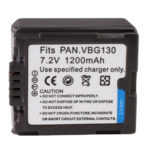 Untitled document 	   Overview :  		 	1) Cell Type: VBG130 2) Capacity: 1200mAh  3) Output Voltage: 7.2V  4)  Compatible camera model: Panasonic AG-HMC150