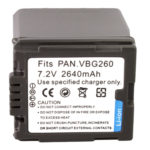 Untitled document    Overview :   1) Cell Type: VBG260 2) Capacity: 2640mAh  3) Output Voltage: 7.2V  4)  Compatible camera model: Panasonic AG-HMC150